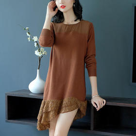 SHJS211-5167纯色蕾丝雪纺鱼尾裙