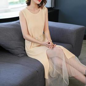 SHJS701-9801淑女纯色网纱套装
