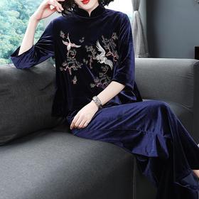 OG99016中国风刺绣休闲丝绒套装