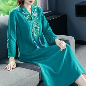 GN8212复古中国风刺绣连衣裙