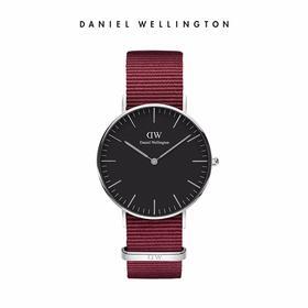 【香港直邮】新品DanielWellington丹尼尔惠灵顿DW 女士手表红色织纹带腕表