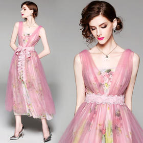 AHM91946hjw雪纺网纱连衣裙两件套