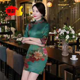 XMR382夏季新款复古双层香云纱旗袍