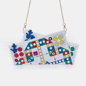 Min Bag 纯牛皮飞行棋印花折纸手拿包链条包(加拿大)