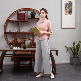 GN8793D民族风棉麻修身套装
