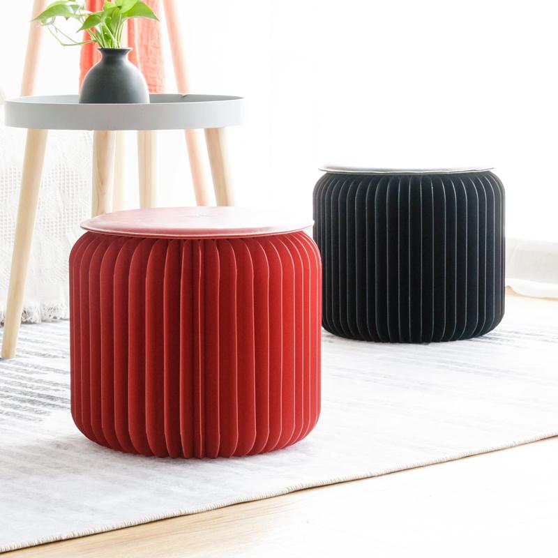 十八纸凳子圆凳时尚创意矮茶几凳家用设计客厅折叠凳