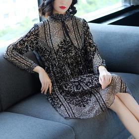 LNS1307新款名媛大码显瘦长袖植绒印花雪纺连衣裙