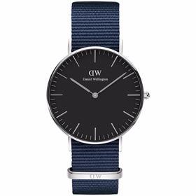 【香港直邮】新品DanielWellington丹尼尔惠灵顿DW女士手表蓝色织纹带腕表