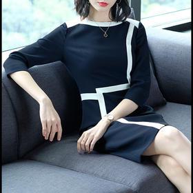 AHM50304ym修身气质条纹连衣裙