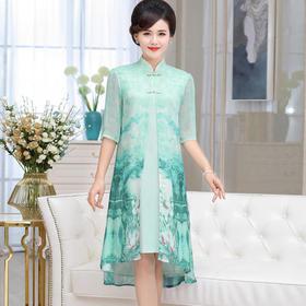 DL1806mez夏季时尚简约开衫内衬复古印花连衣裙
