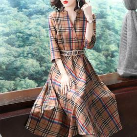 SMHC18475修身格子系带连衣裙