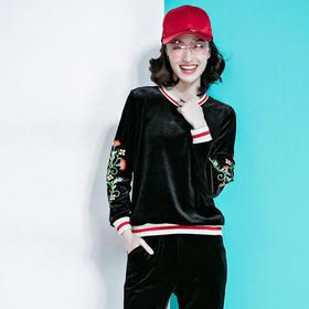 XMH8311421时尚休闲绣花金丝绒套装