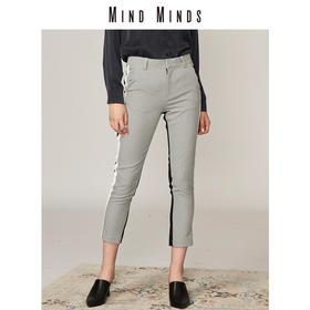 MINDMINDS 2018新款女装拼接格纹显瘦西装裤