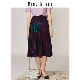 MINDMINDS2018新品女压褶半裙显瘦A字百褶裙