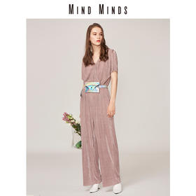 MIND MINDS短袖高腰阔腿裤压褶连体裤2018新款女连衣裤套装