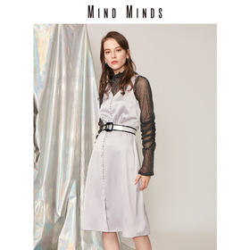 MIND MINDS2018新品女装睡衣式收腰V领吊带连衣裙