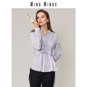 MINDMINDS 2018秋季新品色织条纹绑带收腰长袖衬衫上衣女
