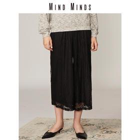 MINDMINDS 2018新品女裤镂空蕾丝女阔腿裤