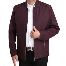 【寒冰紫雨】爸爸春装外套中年春季夹克衫新款 40岁薄款50春秋中老年人男装 酒红    AAA5838