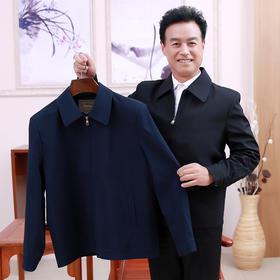 【寒冰紫雨】 潮秋季父亲装休闲夹克衫中年男士新款薄外套 中老年人男装爸爸春装 黑色 M    AAA5841