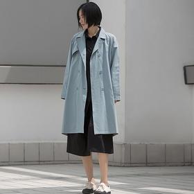 文艺简约宽松棉布长袖弧形中长款风衣