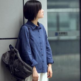 复古棉麻条纹衬衣女