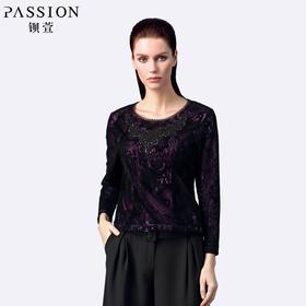 钡萱 秋装新款蕾丝衫上衣长袖女性感黑色镂空内搭显瘦修身打底衫