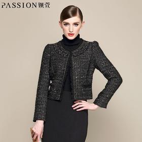 钡萱冬季女装 复古风时尚气质亮丝短款小西服外套女短外套14W016A
