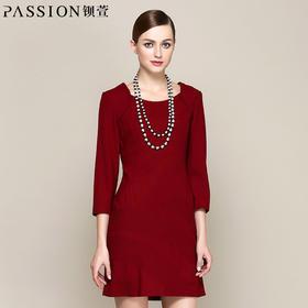 钡萱/PASSION秋装新款 时尚不对称条纹优雅连衣裙 14W261G