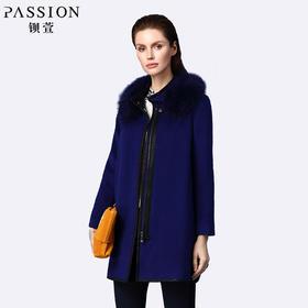 钡萱冬季长袖毛呢外套女中长款立领羊毛呢子大衣女 14W574A