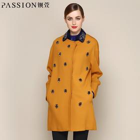钡萱冬季长袖毛呢外套女中长款 时尚羊毛宽松呢子大衣14W185A