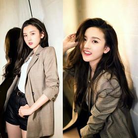 宋祖儿明星同款2018新款韩版小西装女chic复古格子休闲西服外套潮