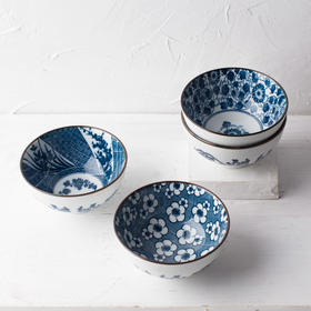 日式和风创意厨房餐具青花纹4.5寸陶瓷餐碗米饭碗小汤碗