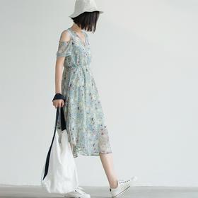 碎花雪纺连衣裙