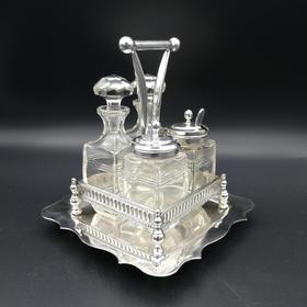 银质提篮调味瓶套装 1930年代初期 英国制造