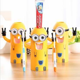 小黄人儿童牙刷架自动挤牙膏器塑料卡通漱口杯牙刷三合一洗漱套装