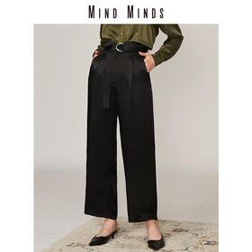 MINDMINDS 黑色直筒裤女高腰显瘦西装阔腿长裤 赠金属双扣腰带