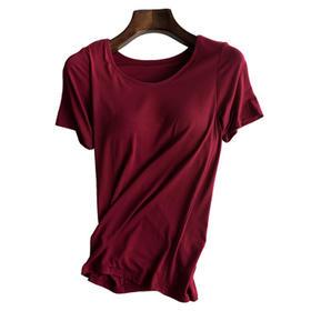 【舒适无钢圈】带胸垫短袖T恤一体bra速干免穿无钢圈文胸罩杯打底运动瑜伽内衣