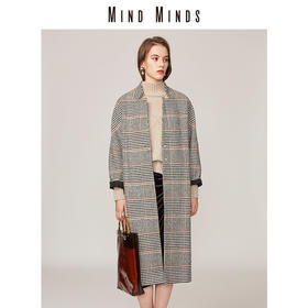 MINDMINDS 连袖式立领格纹毛呢大衣