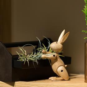 北欧风格  木质兔小姐  丹麦木偶摆件  木质家居  创意生日礼物