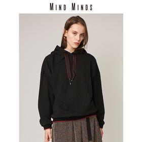 MINDMINDS 黑色卫衣女2018新款套头连帽长袖上衣外套