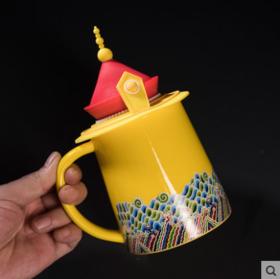 中国风咖啡杯陶瓷杯茶杯龙凤马克杯子创意皇帝皇后龙帽凤冠硅胶盖