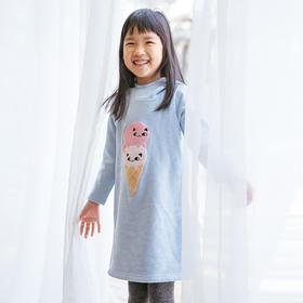 壹果Yiigoo 女童猫咪甜筒连帽绣花卫衣裙