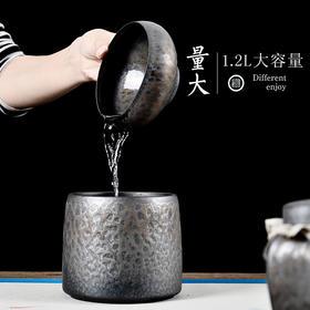 粗陶茶洗大号茶渣直桶缸小号黑陶瓷复古功夫茶具茶道配件