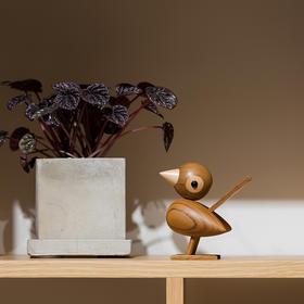 北欧风格  呆萌麻雀  丹麦木偶摆件  木质家居  创意生日礼物