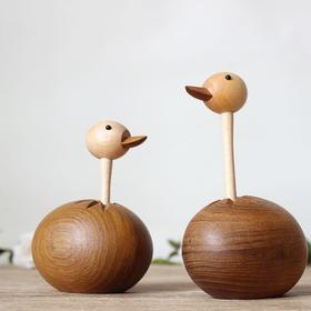 北欧风格  鸵鸟  丹麦木偶摆件  木质家居  创意生日礼物