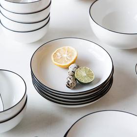 摩登主妇欧式创意黑线陶瓷餐具装菜盘子碟子菜盘西餐盘家用碗汤盘