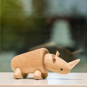 北欧风格  犀牛  丹麦木偶摆件  木质家居  创意生日礼物