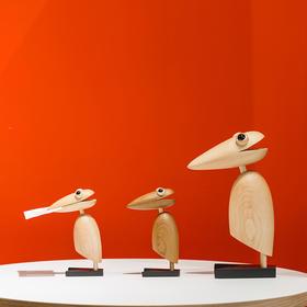 北欧风格  呆萌啄木鸟  名片夹  丹麦木偶摆件  木质家居  创意生日礼物