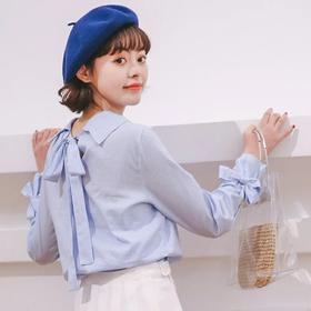 2018春秋新款女装甜美学院风条纹显瘦蝴蝶结系带长袖小清新衬衫女